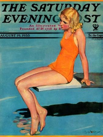 """Sitting on the Diving Board,"" Saturday Evening Post Cover, August 19, 1933"