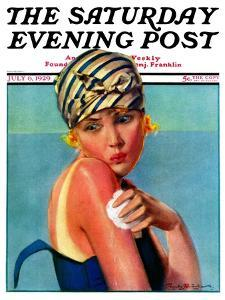 """""""Sunburned Sunbather,"""" Saturday Evening Post Cover, July 6, 1929 by Penrhyn Stanlaws"""