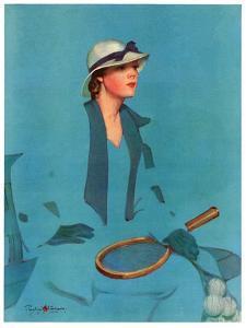 """""""Tennis in Blue,""""June 16, 1934 by Penrhyn Stanlaws"""