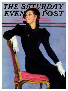 """""""Woman in Black,"""" Saturday Evening Post Cover, April 14, 1934 by Penrhyn Stanlaws"""