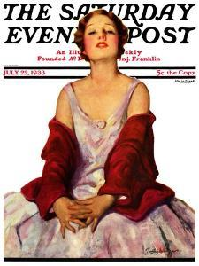 """""""Woman in Red Stole,"""" Saturday Evening Post Cover, July 22, 1933 by Penrhyn Stanlaws"""