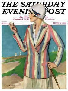 """""""Woman in Sandtrap,"""" Saturday Evening Post Cover, June 9, 1928 by Penrhyn Stanlaws"""