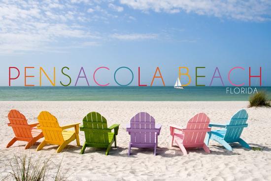 Pensacola Beach, Florida - Colorful Beach Chairs-Lantern Press-Wall Mural