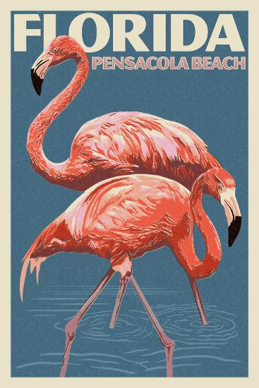 Pensacola Beach, Florida - Flamingo - Letterpress-Lantern Press-Wall Mural