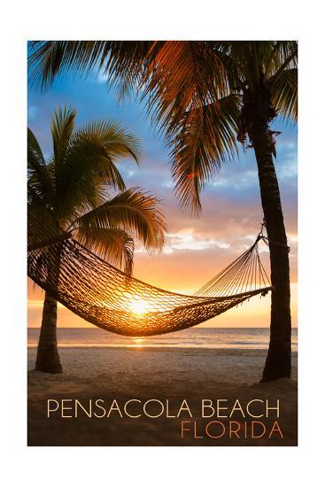 Pensacola Beach, Florida - Hammock and Sunset-Lantern Press-Art Print
