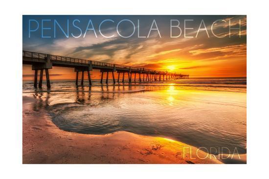 Pensacola Beach, Florida - Pier and Sunset-Lantern Press-Art Print