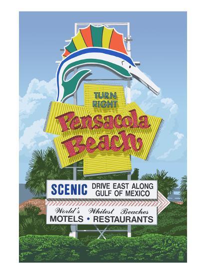 Pensacola Beach, Florida-Lantern Press-Art Print