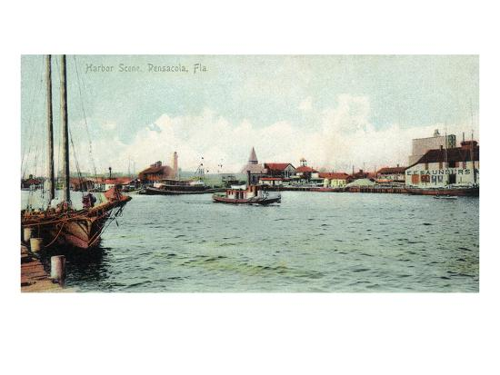 Pensacola, Florida - Harbor Scene-Lantern Press-Art Print
