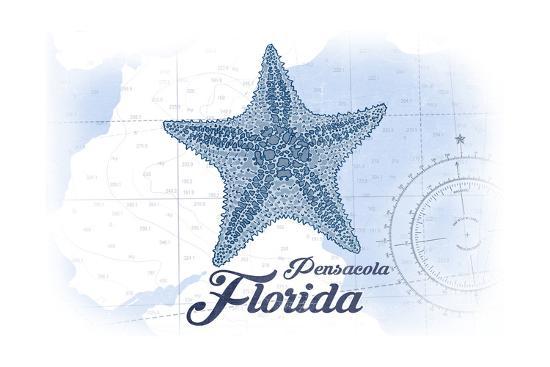 Pensacola, Florida - Starfish - Blue - Coastal Icon-Lantern Press-Art Print