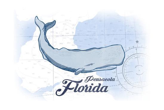 Pensacola, Florida - Whale - Blue - Coastal Icon-Lantern Press-Art Print