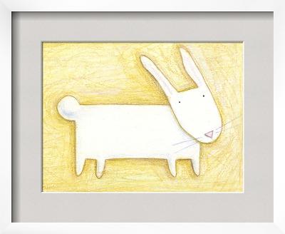 Pensive Bunny - Crayon Critter III--Framed Art Print