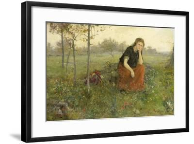 Pensive Girl in Meadow-John Macallan Swan-Framed Art Print
