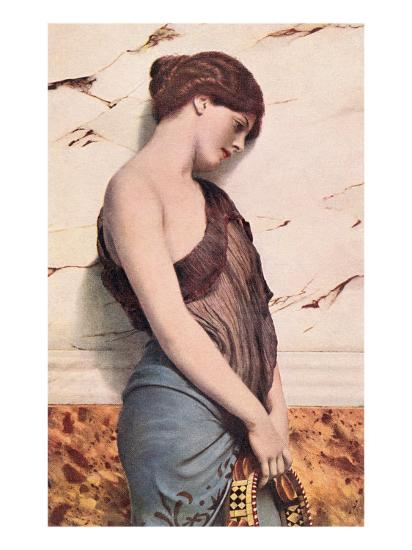 Pensive Gypsy Woman with Tambourine--Art Print