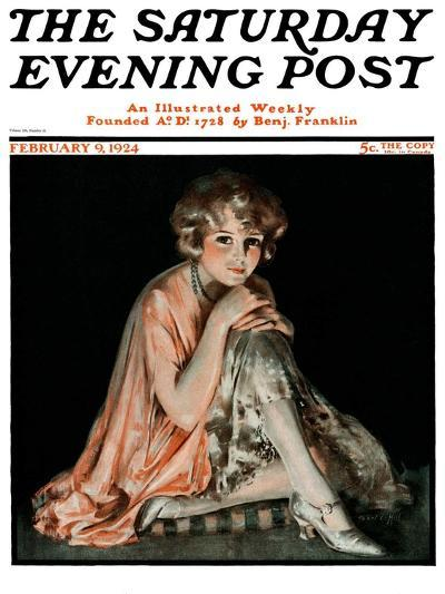 """Pensive Woman,"" Saturday Evening Post Cover, February 9, 1924-Pearl L. Hill-Giclee Print"