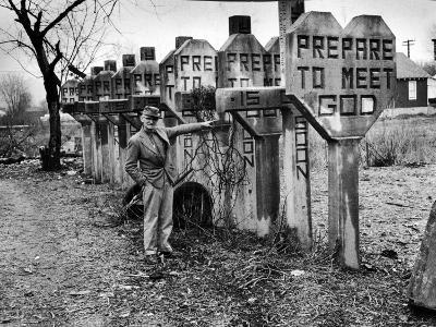Pentecostal Zealot Harrison Mayes Standing with Religious Signs Made and Posted-Carl Mydans-Photographic Print