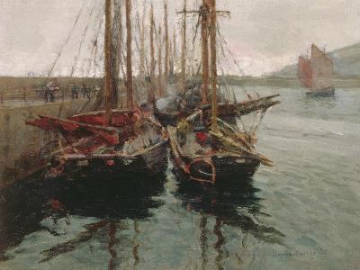 Penzance Fishing Boats in Newlyn Harbour, 1905-Harold Harvey-Giclee Print