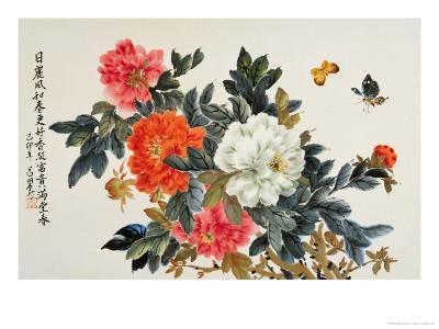 Peonies and Butterflies-Lu Bisa-Giclee Print