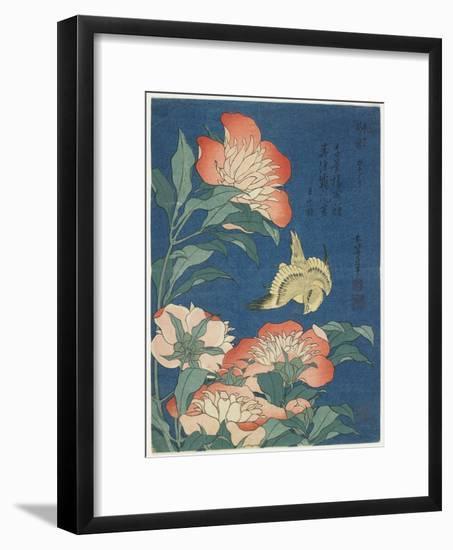 Peonies and Canary, C. 1833-Katsushika Hokusai-Framed Giclee Print