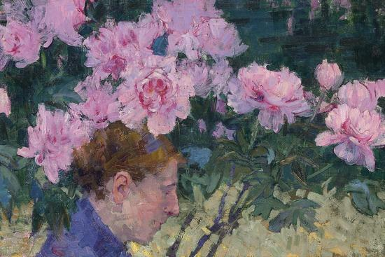 Peonies and head of a Woman-John Peter Russell-Giclee Print