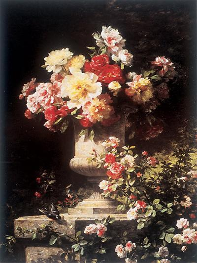 Peonies and Roses-Louis-Marie Lemaire-Art Print