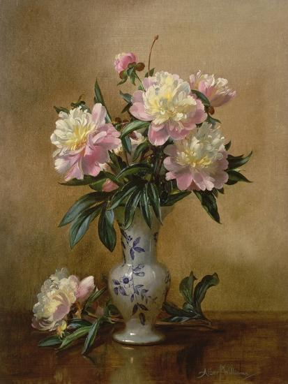 Peonies in a Blue and White Vase-Albert Williams-Giclee Print