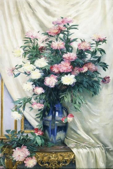 Peonies in a Blue Vase on a Draped Regency Giltwood Console Table-Albert Aublet-Giclee Print