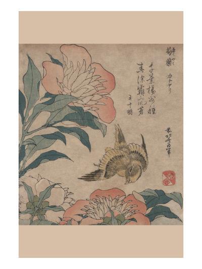 Peony and Canary-Katsushika Hokusai-Art Print
