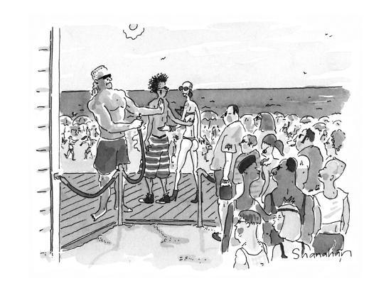 People are let onto beach by bouncer like a club. - New Yorker Cartoon-Danny Shanahan-Premium Giclee Print