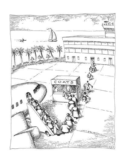 People arriving at a tropical location check their coats at airport. - New Yorker Cartoon-John O'brien-Premium Giclee Print