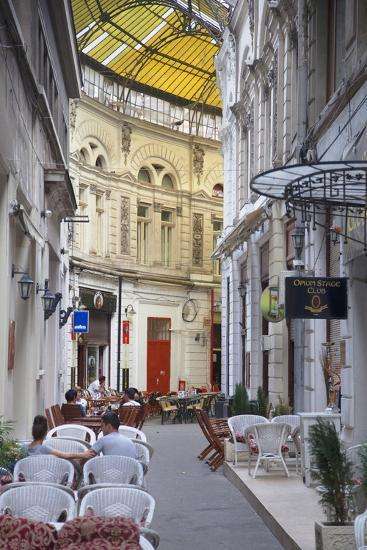 People at Cafes in Macca-Villacrosse Passage, Bucharest, Romania, Europe-Ian Trower-Photographic Print