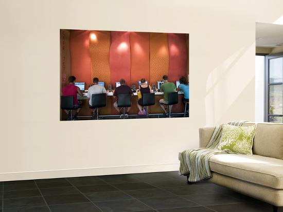 People at Internet Cafe at Canberra City Yha-Richard l'Anson-Giant Art Print