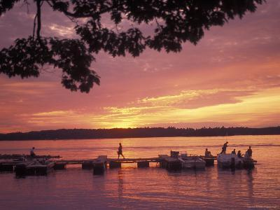 People at the Marina at Sunset in Wellseley Island in New York-Richard Nowitz-Photographic Print