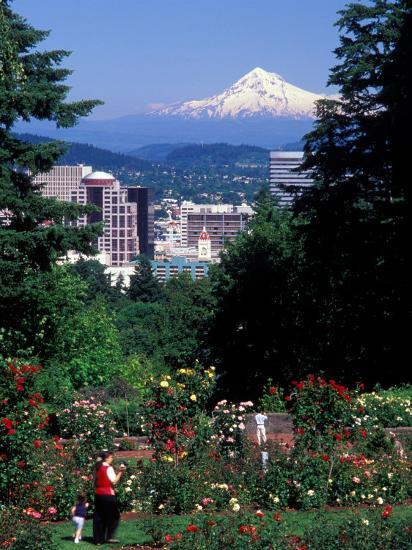 People at the Washington Park Rose Test Gardens with Mt Hood, Portland, Oregon, USA-Janis Miglavs-Photographic Print