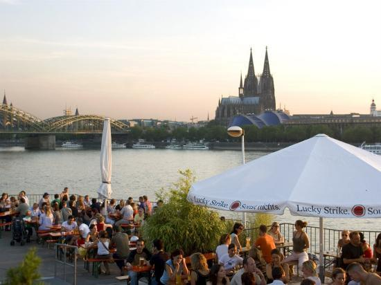 People at Trendy Rheinterrassen Bar and Restaurant Beside the River Rhine, Cologne, Germany-Yadid Levy-Photographic Print