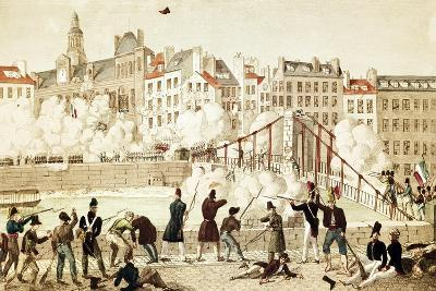 People Attacking Town Hall in Paris, July 28, 1830, France--Giclee Print
