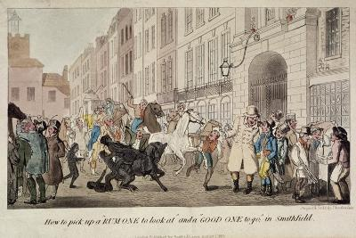 People Bargaining for Mounts at West Smithfield, London, 1825-Theodore Lane-Giclee Print