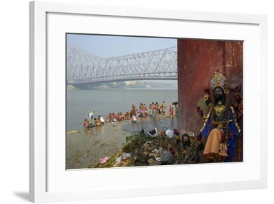 People Bathing in the Hooghly River from a Ghat Near the Howrah Bridge-Bruno Morandi-Framed Photographic Print