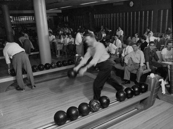 People Bowling at the Mcculloch Motors Recreation Building-J^ R^ Eyerman-Photographic Print
