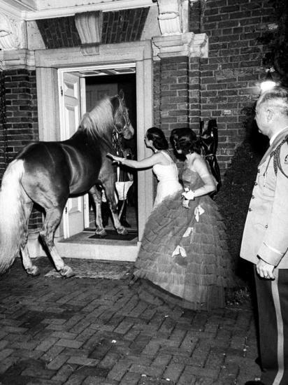 People Bringing in Horse at Dwight D. Eisenhower's Inauguration Party-Cornell Capa-Photographic Print