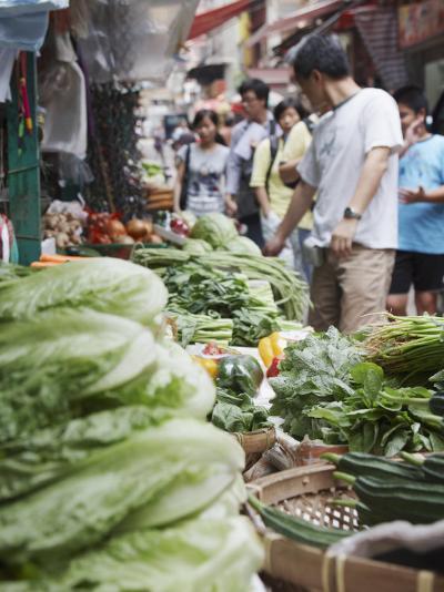 People Buying Vegetables at Graham Street Market, Central, Hong Kong Island, Hong Kong, China, Asia-Ian Trower-Photographic Print