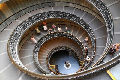 People Climbing down the Stairs of the Vatican Museums in Vatican, Rome, Italy-The World in HDR-Photographic Print