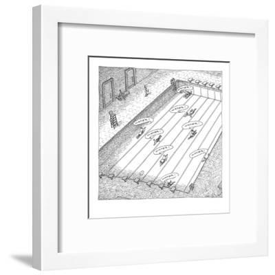 "People crawl along the bottom of an empty swimming pool yelling ""water!"" - New Yorker Cartoon-John O'brien-Framed Premium Giclee Print"