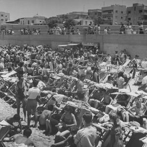 People Crowding the Tel Aviv Beach on a Saturday Morning