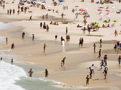 People Enjoying the Beach and Surf at Ipanema Beach-Tim Hughes-Photographic Print