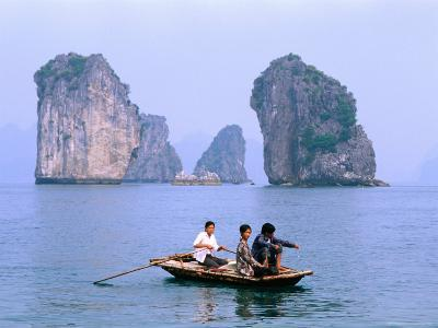 People Fishing in Small Boat with Karsts in Background, Ha Long, Bac Giang, Vietnam-Christopher Groenhout-Photographic Print