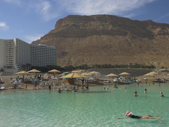 People Floating in the Sea and Hyatt Hotel and Desert Cliffs in Background, Dead Sea, Middle East-Eitan Simanor-Photographic Print