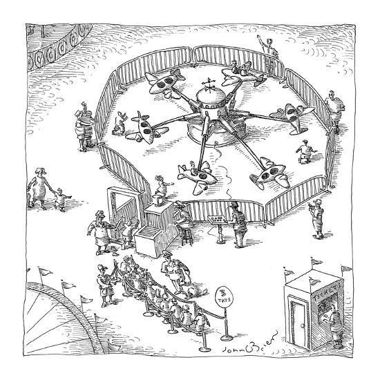People Go Through Metal Detector At Amusement Park Airplane Ride New Yorker Cartoon Premium Giclee Print By John Obrien Artcom
