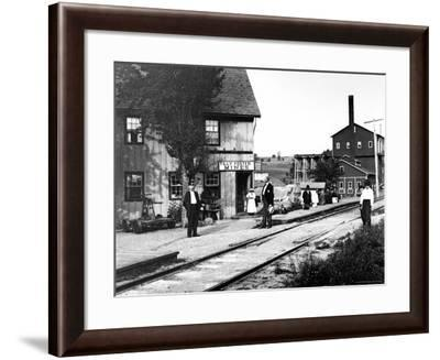 People Hanging Around Outside Railroad Station-Wallace G. Levison-Framed Photographic Print