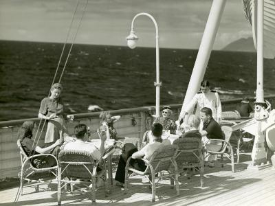 People Having Drinks on Deck of Cruise Ship-George Marks-Photographic Print