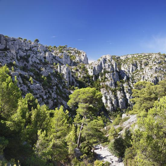 People Hiking Through Rocky Landscape of Les Calanques, Southern France-Markus Lange-Photographic Print